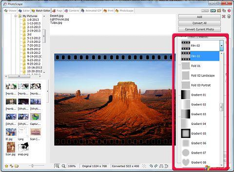 Снимка на екрана PhotoScape за Windows XP