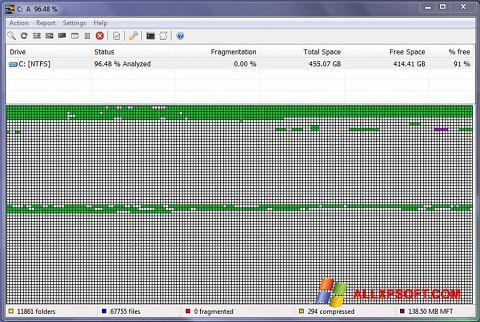 Снимка на екрана UltraDefrag за Windows XP