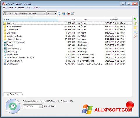 Снимка на екрана BurnAware Free за Windows XP