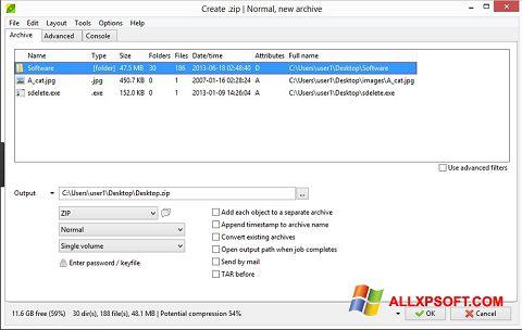 Снимка на екрана PeaZip за Windows XP