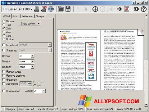 Снимка на екрана FinePrint за Windows XP