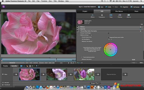 Снимка на екрана Adobe Premiere Elements за Windows XP