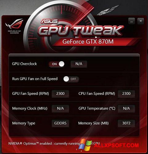 Снимка на екрана ASUS GPU Tweak за Windows XP