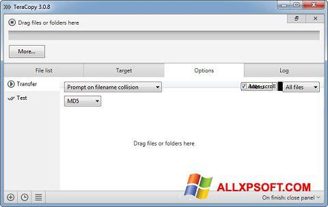 Снимка на екрана TeraCopy за Windows XP