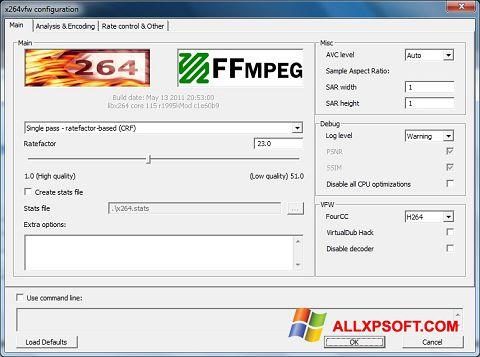 Снимка на екрана x264 Video Codec за Windows XP