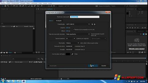 Снимка на екрана Adobe After Effects CC за Windows XP