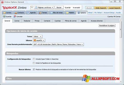 Снимка на екрана Zimbra Desktop за Windows XP