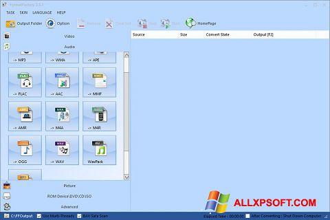 Снимка на екрана Format Factory за Windows XP