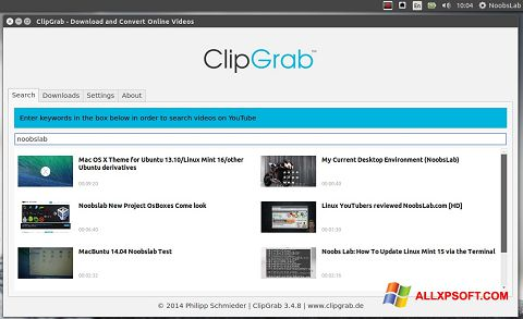 Снимка на екрана ClipGrab за Windows XP