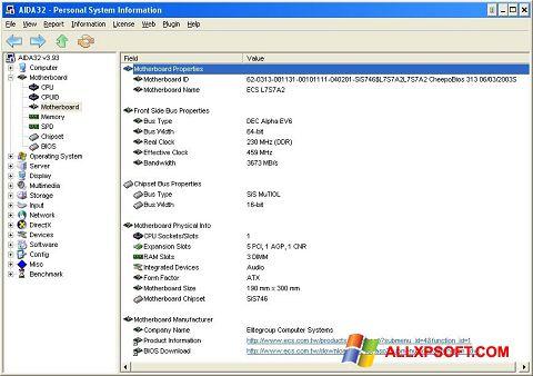 Снимка на екрана AIDA32 за Windows XP