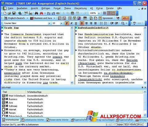 Снимка на екрана PROMT за Windows XP