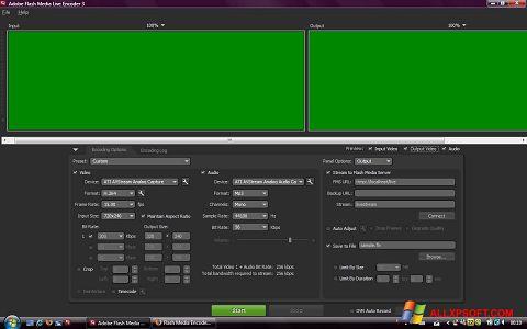 Снимка на екрана Adobe Media Encoder за Windows XP