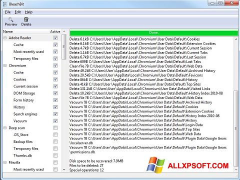 Снимка на екрана BleachBit за Windows XP