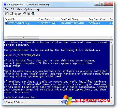 Снимка на екрана BlueScreenView за Windows XP