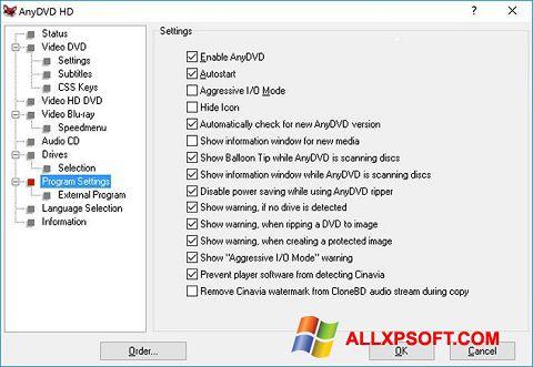 Снимка на екрана AnyDVD за Windows XP