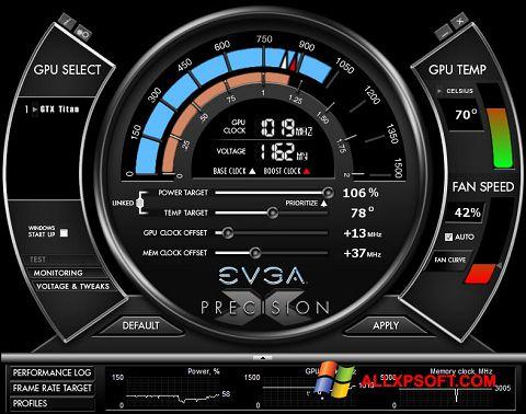 Снимка на екрана EVGA Precision X за Windows XP