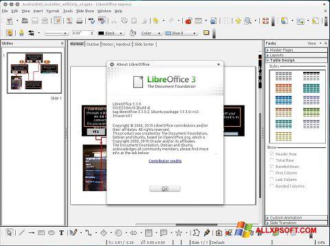 Снимка на екрана LibreOffice за Windows XP