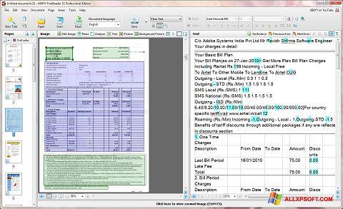 Снимка на екрана ABBYY FineReader за Windows XP