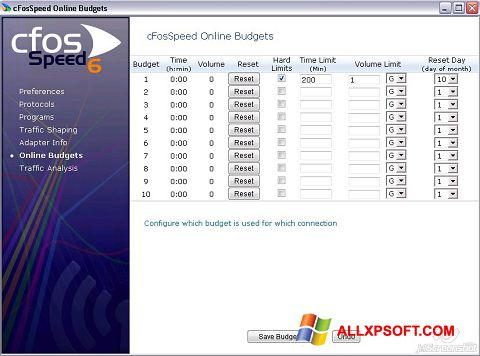 Снимка на екрана cFosSpeed за Windows XP