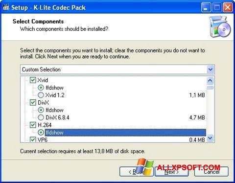 Снимка на екрана K-Lite Codec Pack за Windows XP