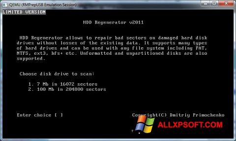 Снимка на екрана HDD Regenerator за Windows XP