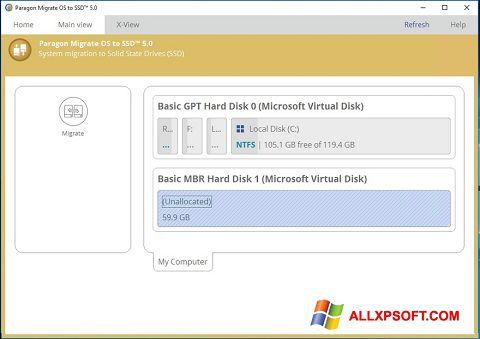 Снимка на екрана Paragon Migrate OS to SSD за Windows XP