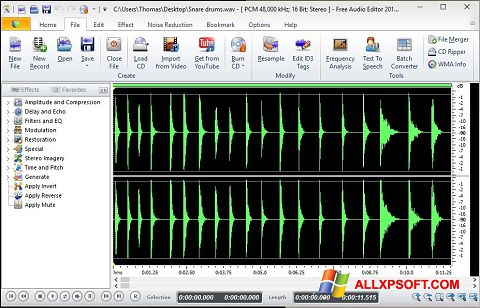 Снимка на екрана Free Audio Editor за Windows XP