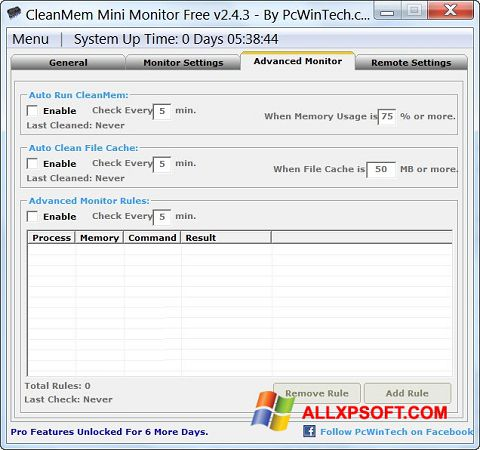 Снимка на екрана CleanMem за Windows XP