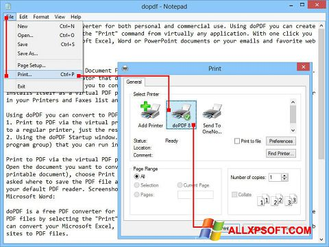 Снимка на екрана doPDF за Windows XP
