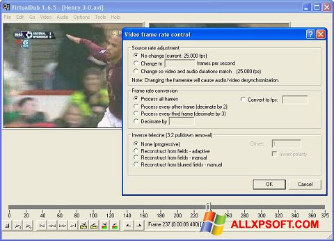 Снимка на екрана VirtualDubMod за Windows XP