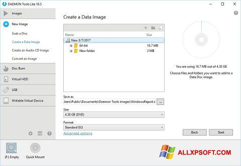 Снимка на екрана DAEMON Tools Lite за Windows XP
