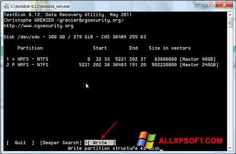 Снимка на екрана TestDisk за Windows XP