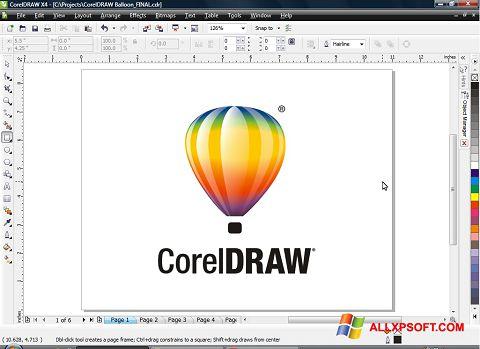 Снимка на екрана CorelDRAW за Windows XP