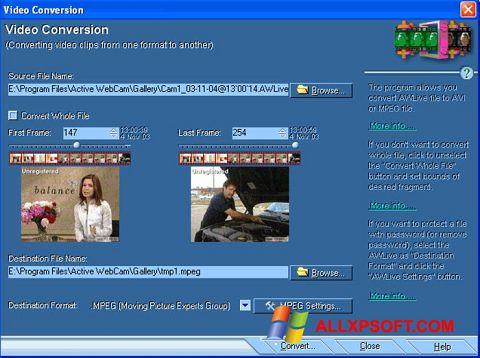 Снимка на екрана Active WebCam за Windows XP