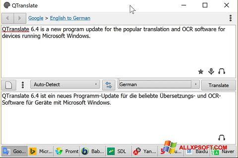 Снимка на екрана QTranslate за Windows XP