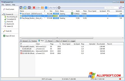 Снимка на екрана BitTorrent за Windows XP