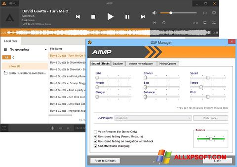 Снимка на екрана AIMP за Windows XP