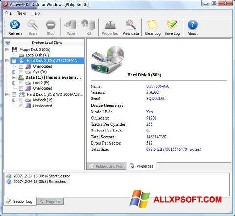 Снимка на екрана Active KillDisk за Windows XP
