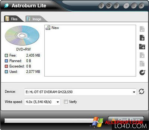 Снимка на екрана Astroburn Lite за Windows XP