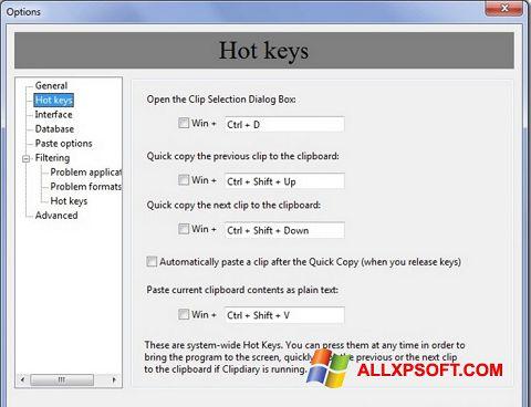 Снимка на екрана Clipdiary за Windows XP