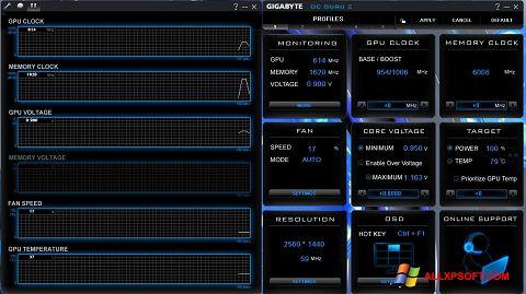 Снимка на екрана GIGABYTE OC Guru за Windows XP