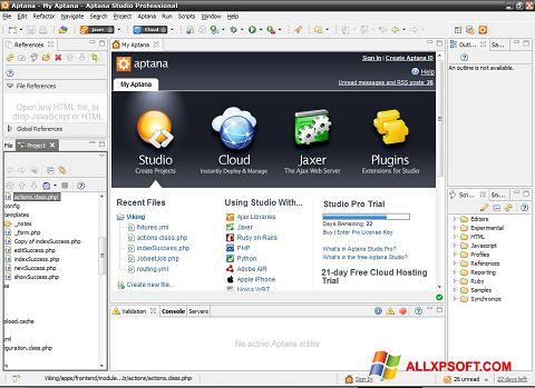 Снимка на екрана Aptana Studio за Windows XP