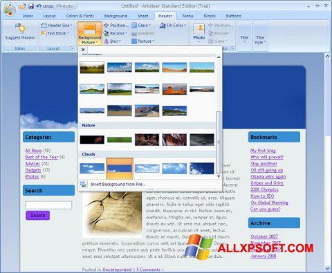 Снимка на екрана Artisteer за Windows XP