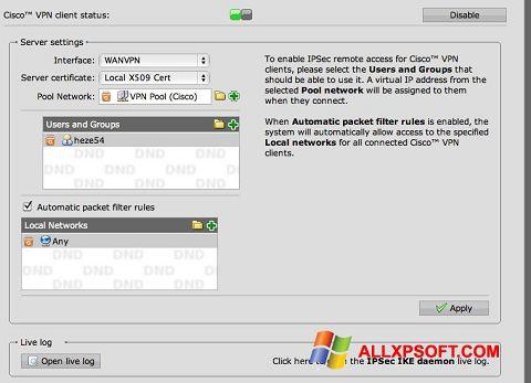 Снимка на екрана Cisco VPN Client за Windows XP