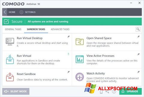 Снимка на екрана Comodo Antivirus за Windows XP