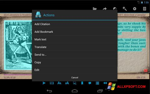 Снимка на екрана AlReader за Windows XP