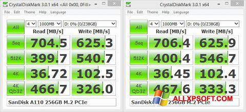 Снимка на екрана CrystalDiskMark за Windows XP
