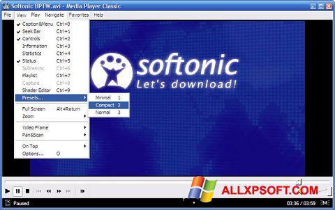 Снимка на екрана Media Player Classic за Windows XP