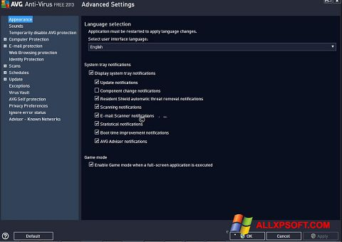 Снимка на екрана AVG за Windows XP