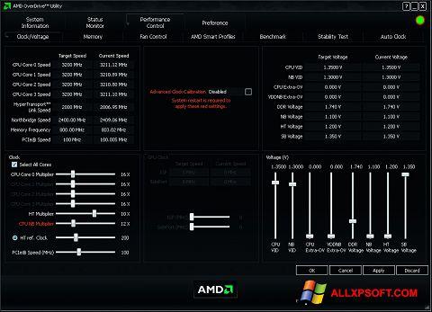 Снимка на екрана AMD Overdrive за Windows XP